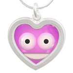 Candy Smiley - Pink Silver Heart Necklace