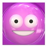 Candy Smiley - Pink Square Car Magnet 3
