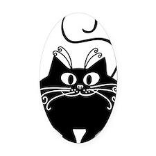 grinning fat black cat Oval Car Magnet