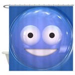 Candy Smiley - Blue Shower Curtain