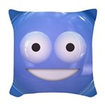 Candy Smiley - Blue Woven Throw Pillow