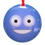 Candy Smiley - Blue Round Ornament
