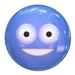 Candy Smiley - Blue Round Car Magnet