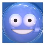 Candy Smiley - Blue Square Car Magnet 3