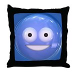 Candy Smiley - Blue Throw Pillow