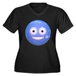 Candy Smiley - Blue Women's Plus Size V-Neck Dark