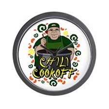 Man in Apron green Chili Cookoff Graphic Wall Cloc