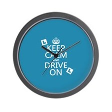 Keep Calm and Drive On Wall Clock
