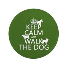 """Keep Calm and Walk The Dog 3.5"""" Button (100 pack)"""