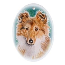 Sheltie Puppy Oval Ornament