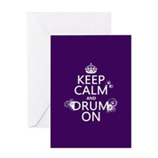 Keep Calm and Drum On (grunge) Greeting Card