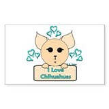 I Love Chihuahuas Cartoon (Blue) Decal