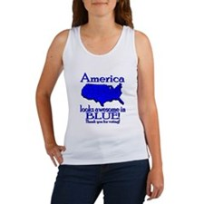 America Looks Awesome in Blue Women's Tank Top