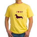 Dachshund Plum Yellow T-Shirt