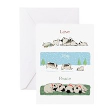 """Keeshond Love Joy Peace"" Cards (Pk of 10)"