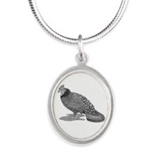 Ruffed Grouse Silver Oval Necklace
