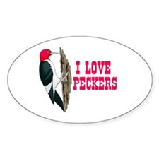 LOVE PECKERS Oval Decal