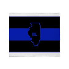 Thin Blue Line Illinois Throw Blanket