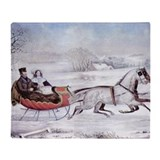 Currier ives christmas Fleece Blankets