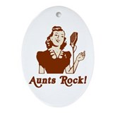 Retro Aunts Rock Oval Ornament
