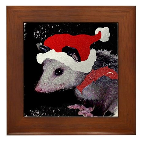 Possum Santa Framed Tile