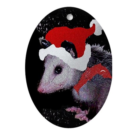 Possum Santa Oval Ornament