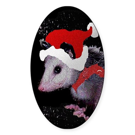 Possum Santa Oval Sticker
