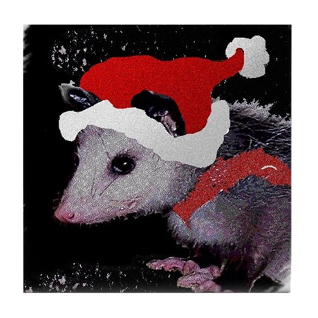 Possum Santa Tile Coaster