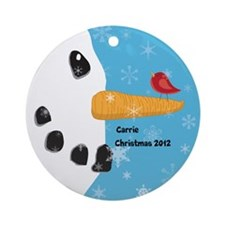 Personalized Snowman Face with Red Bird Ornament