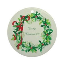 Personalized Holly Wreath Ornament