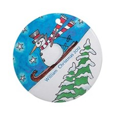 Personalized Downhill Skiing Snowman Ornament