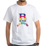 R is for Rainbow White T-Shirt