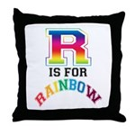 R is for Rainbow Throw Pillow
