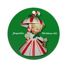 Personalized Vintage Candy Cane Girl Ornament