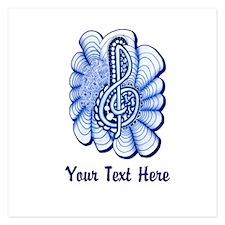 Personalizable Blue Music is Art Treble Clef Invit