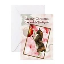 Granddaughter, Meowy Christmas. Greeting Card
