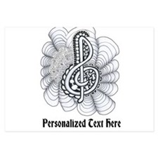Personalizable Black/White Music Treble Clef Invit