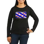Friesland Flag Women's Long Sleeve Black Shirt