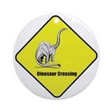Diplodocus Dinosaur Crossing Ornament (Round)