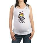 Flaming Wolf Tattoo Maternity Tank Top