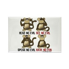 No Evil Fun Monkeys Rectangle Magnet (10 pack)