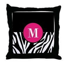 Zebra Print with Custom Hot Pink Monogram Throw Pi