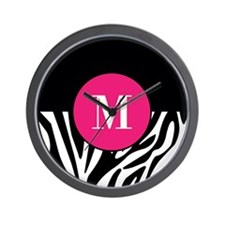 Zebra Print with Custom Hot Pink Monogram Wall Clo
