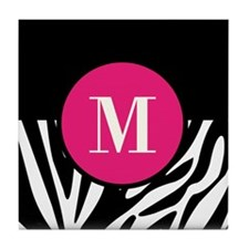 Zebra Print with Custom Hot Pink Monogram Tile Coa