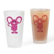 cute pink polka dot mouse Drinking Glass