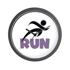 RUN in Purple Wall Clock