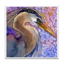 Great Blue Heron Watercolor Tile Coaster
