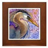 Great Blue Heron Watercolor Framed Tile