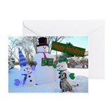 """Setter with Snowmen"" Greeting Cards (Pk of 10)"