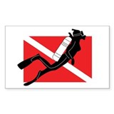 Girl SCUBA Diver Rectangle Decal